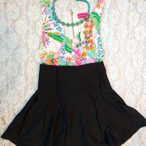 Mossimo Black High Waist Flare Scuba Skirt
